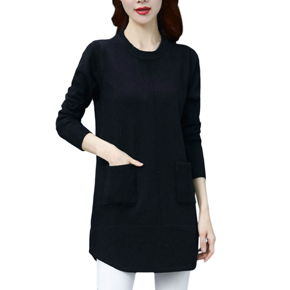 A-Ladies-Pullover-Sweater-Top-Long-Style-Round-Neck-Pocket-Women-Knit-Jumper-Top