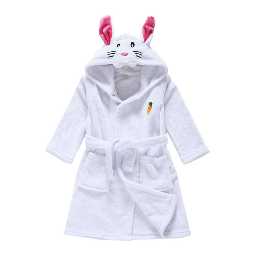UK Cute Animal Soft Flannel Bathrobe Kids Baby Robe Pajama Sleepwear ...