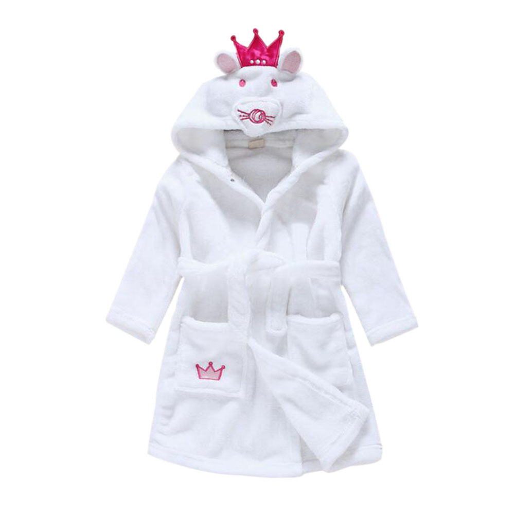 UK Cute Animal Soft Flannel Bathrobe Kids Baby Robe Pajama Sleepwear ...