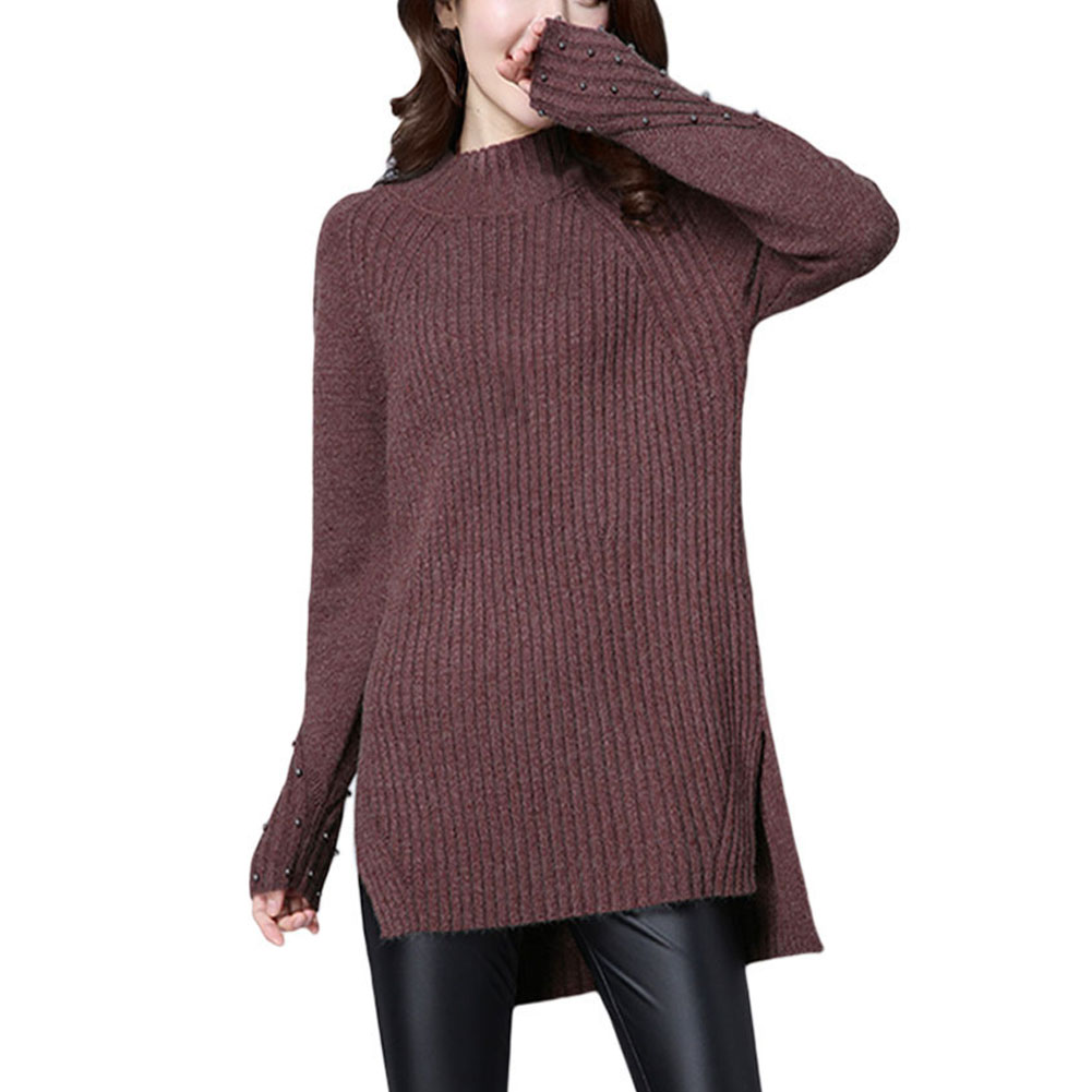 AU-Lady-Winter-Pullover-Sweater-Jumper-Round-Neck-Long-Sleeve-Knitwear-Women-Top