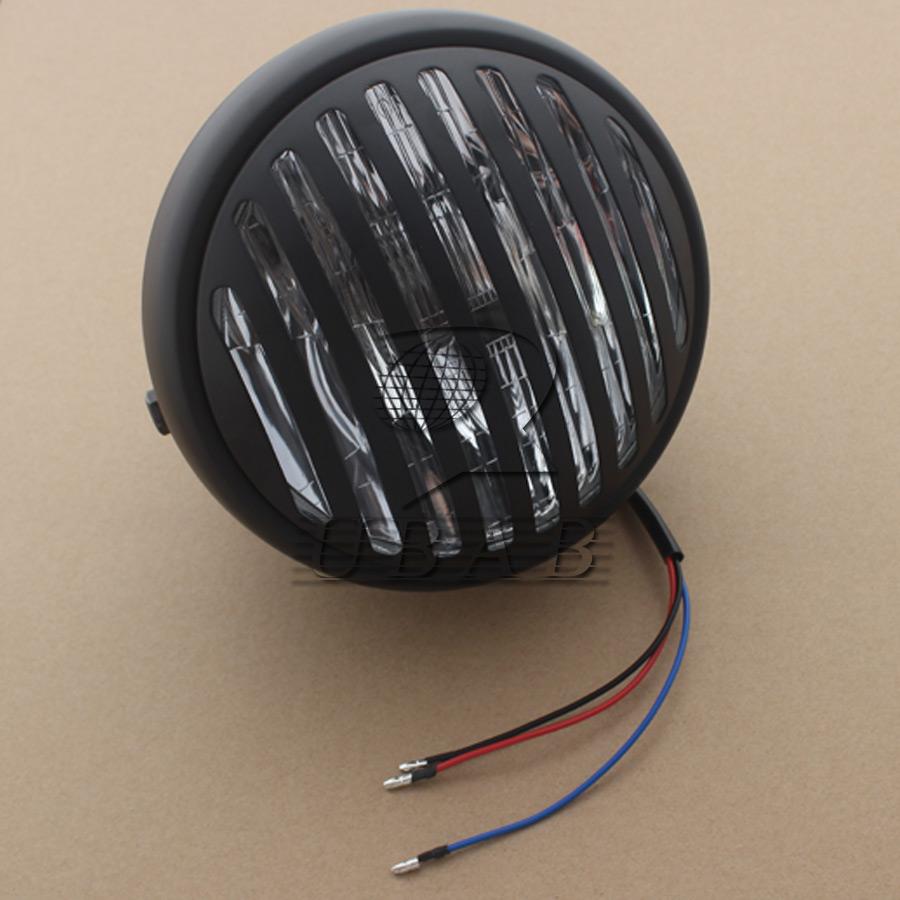 "Metal Black 6.5/"" Motorcycle Finned bullet Headlight Grill Chopper Retro Custom"