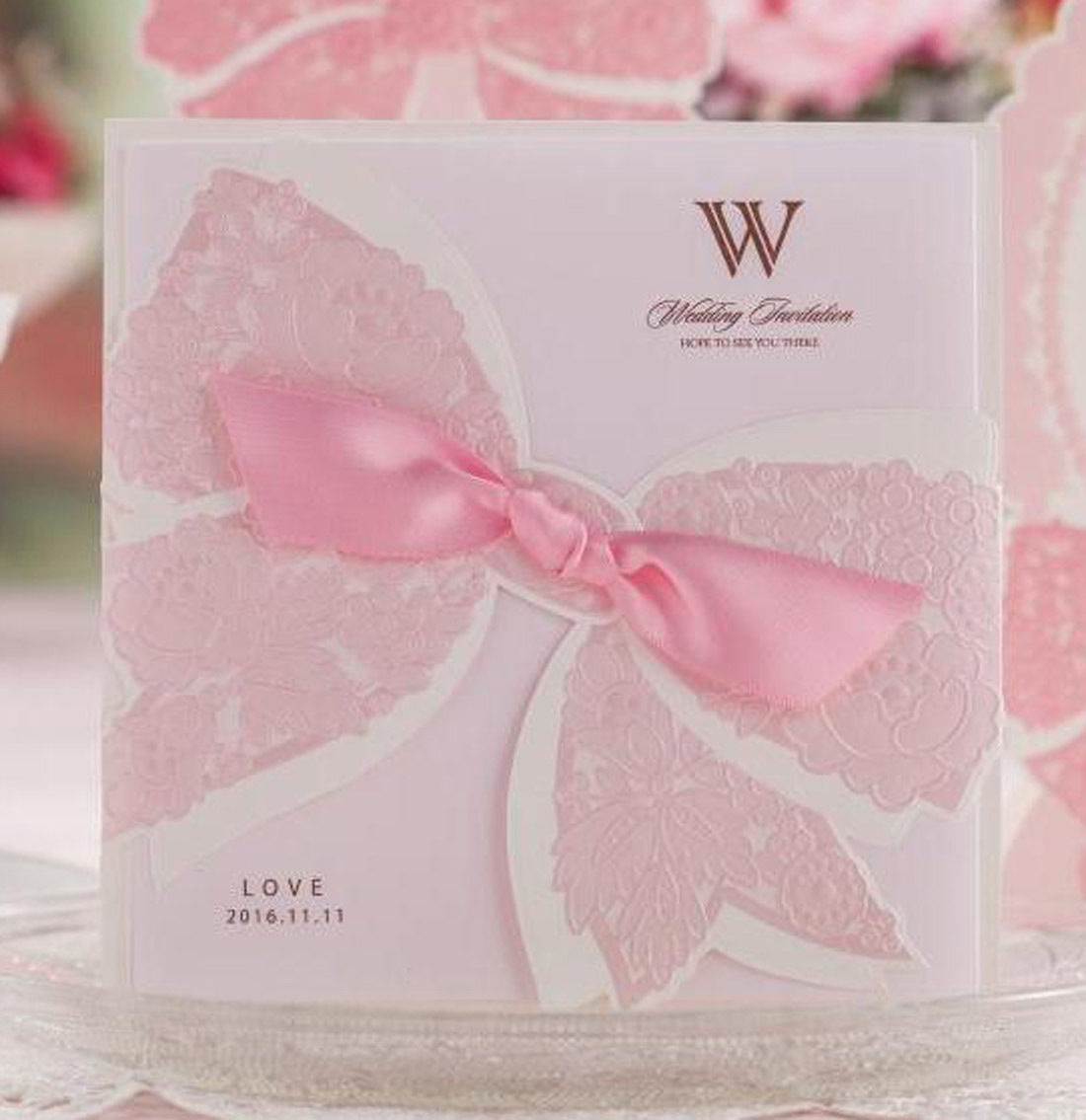 White And Pink Personlize Laser Cut Wedding Party Invitations With ...