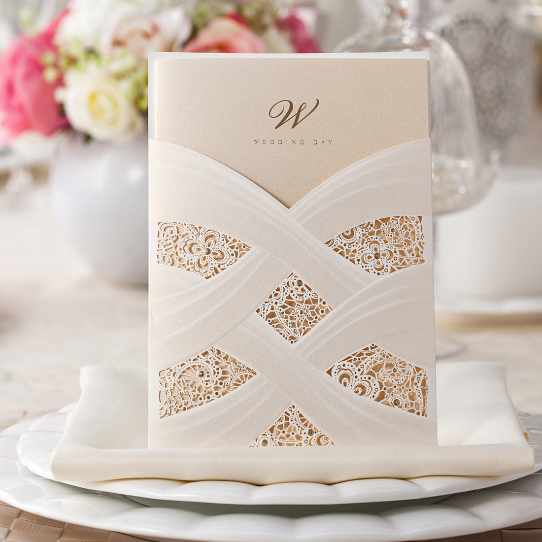 Details About Elegant Vertical Laser Cut Wedding Invitation Card Kit Personalized For Marriage