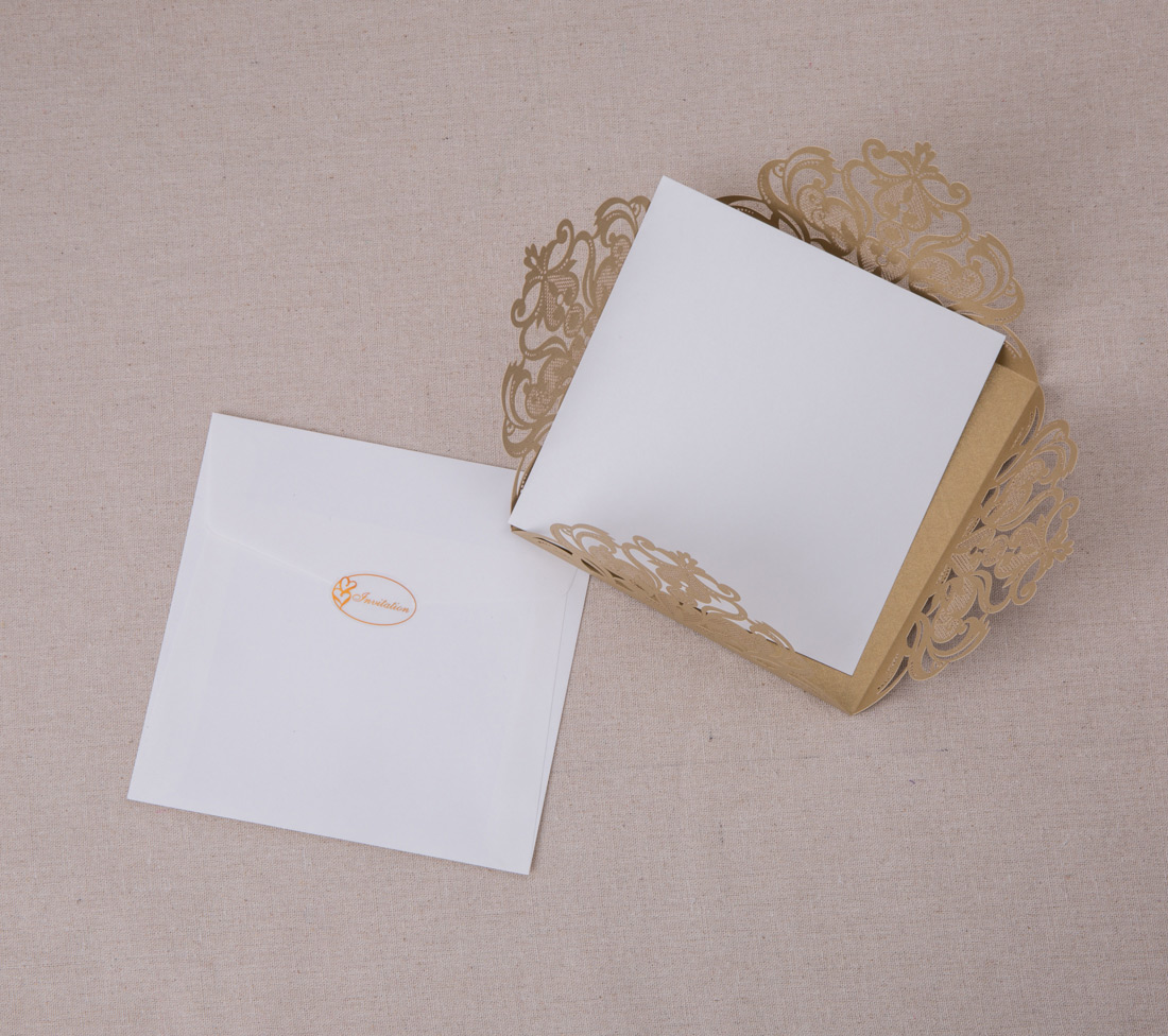 Personalized gold invitation cards for wedding birthday for Wedding invitation envelopes for sale