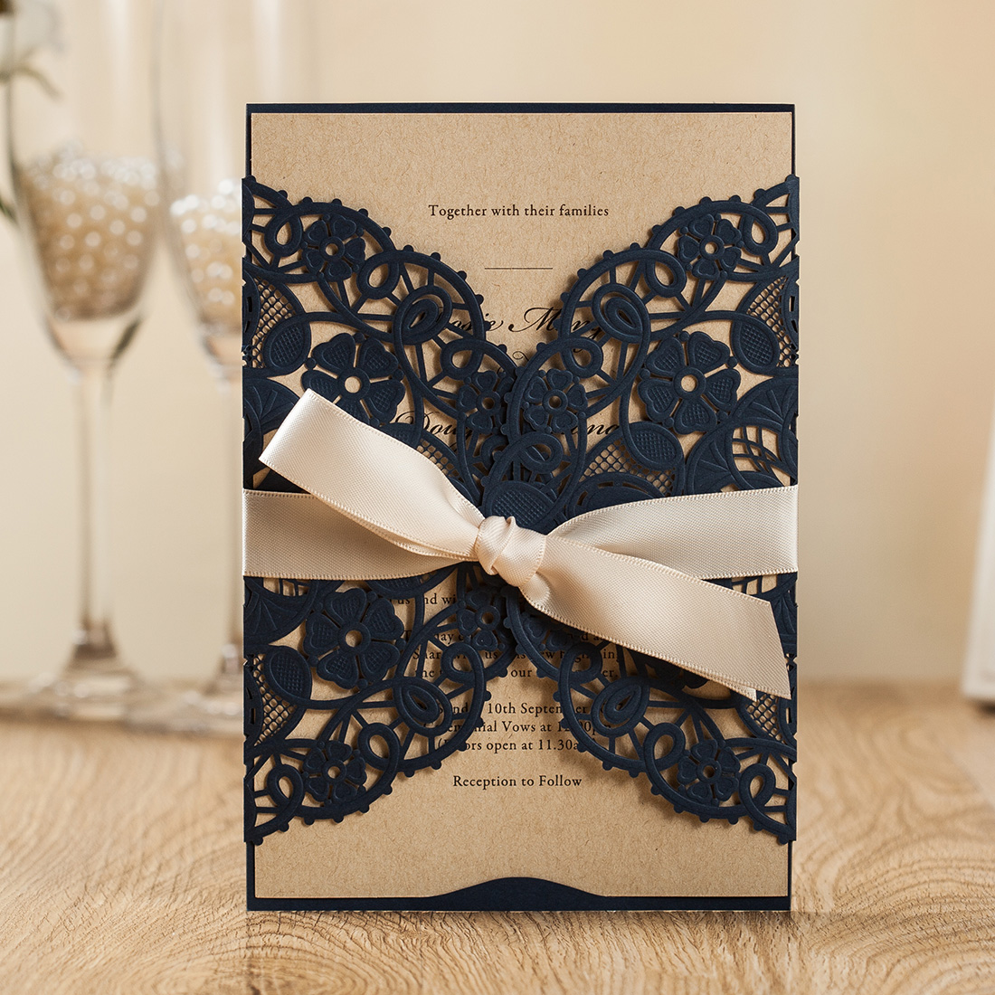 Details About Navy Blue Wedding Invitation With Ribbon Party Invite Envelope Rustic Insert
