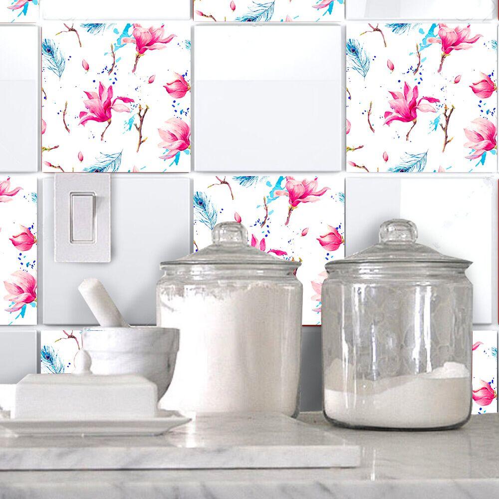 Magnolia Flower Tile Wall Decals Stickers DIY Kitchen Bathroom Home ...