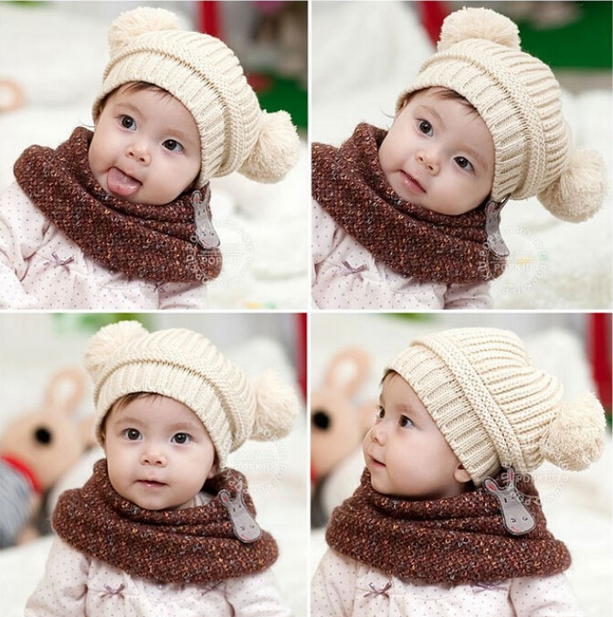 Cute Baby Toddler Kids Boy Girl Stars Pattern Hat Beanie With Scarft New FI