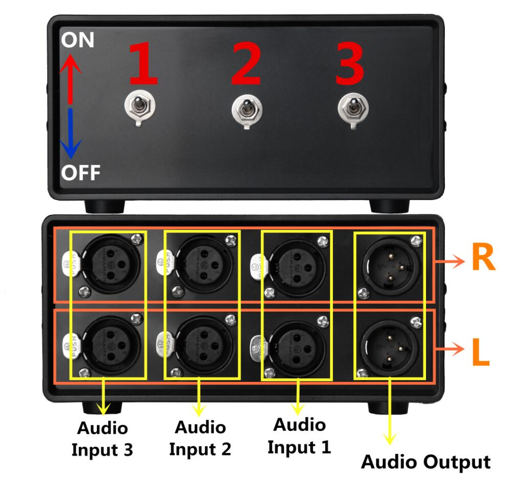 Stereo 3 Ways Audio Signal Xlr Balanced Input Switcher