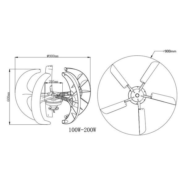 300w 12v 5 Blades Vertical Axis Wind Turbine Generators Vawt