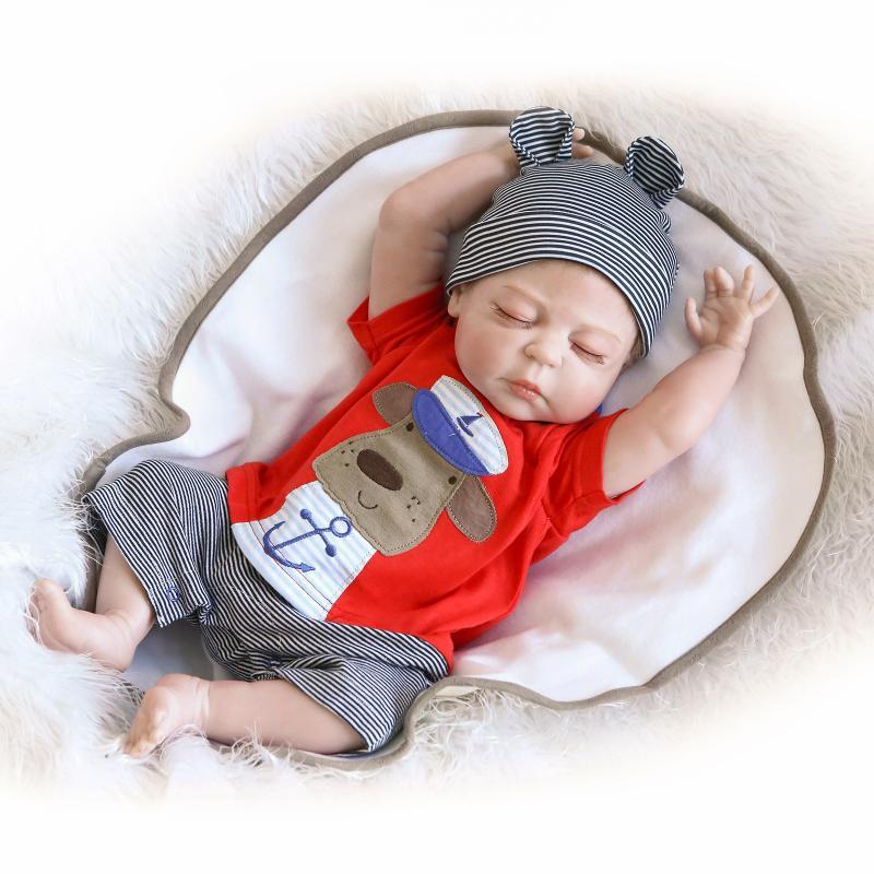 """US 22/"""" Handmade Reborn Baby Full Silicone Vinyl Doll Boy Lifelike Doll Newborn"""