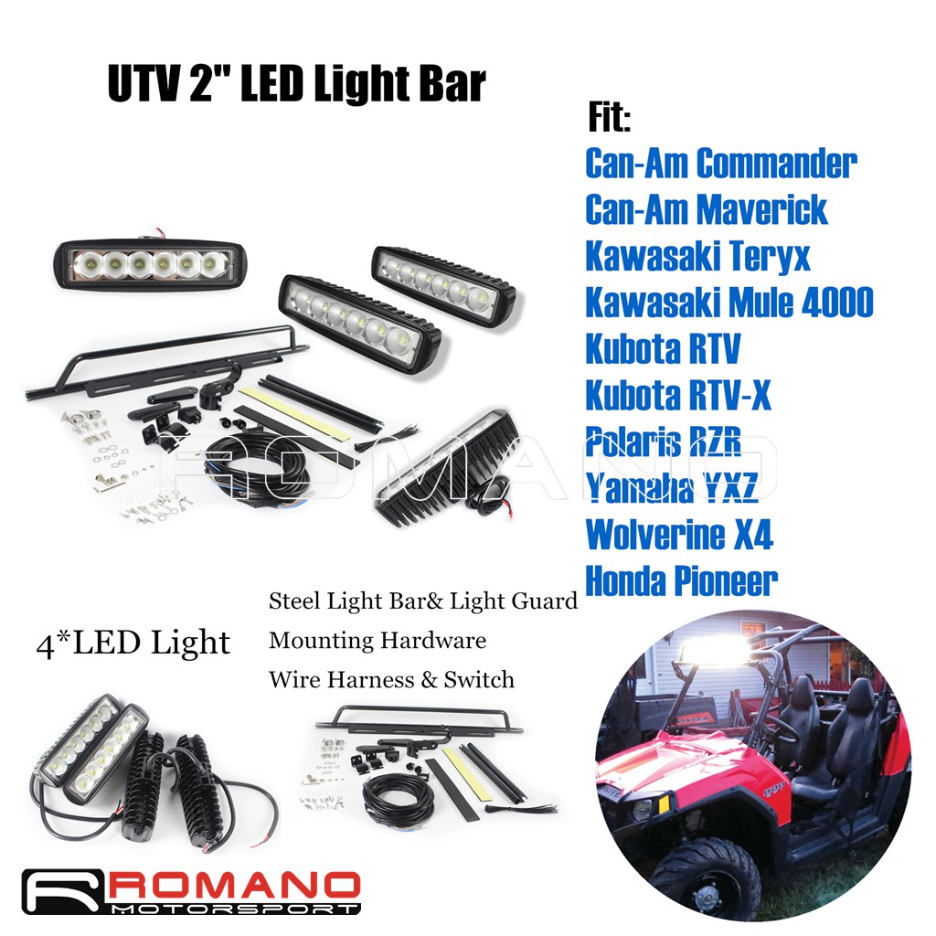 Utv 2 Steel Light Bar Mount 4 Led For Polaris Kawasaki Cam An Ranger Wiring Diagram Lights