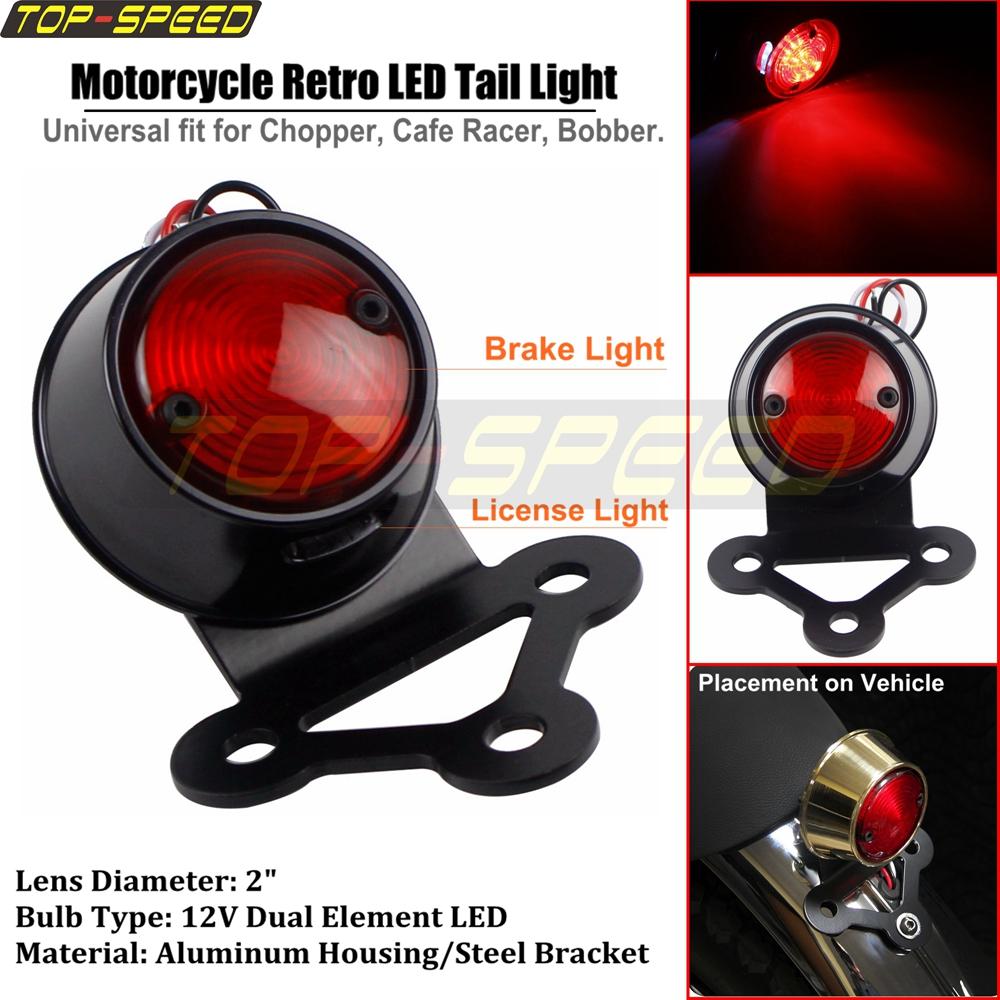 Motorcycle Black Retro 12v Led Rear Brake Tail Light For
