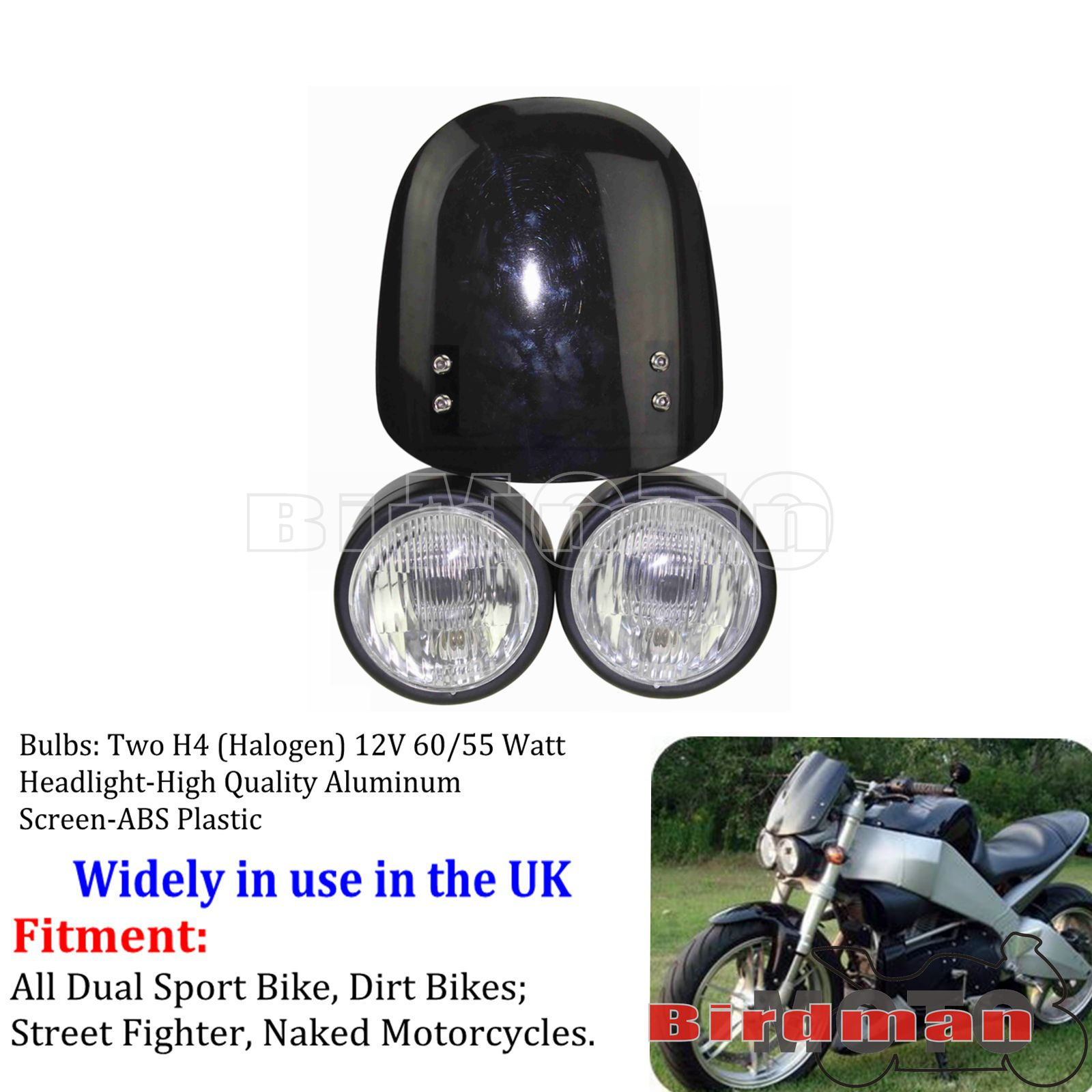 "Street Fighter Motorcycle Racing Bike 3.5/"" Black Twin Dual Dominator Headlight"