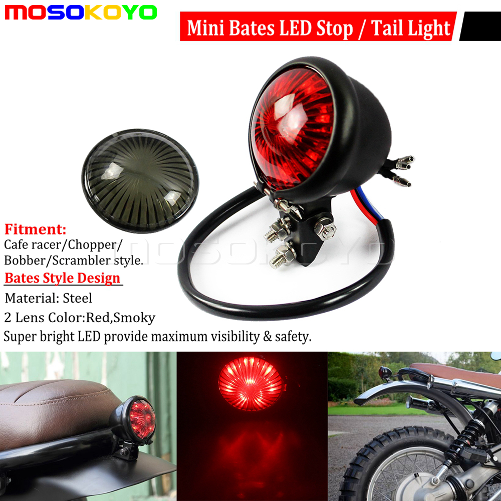 12v Black Motorcycle Rear Brake Stop Running Tail Light Lamp Cafe Racer Chopper