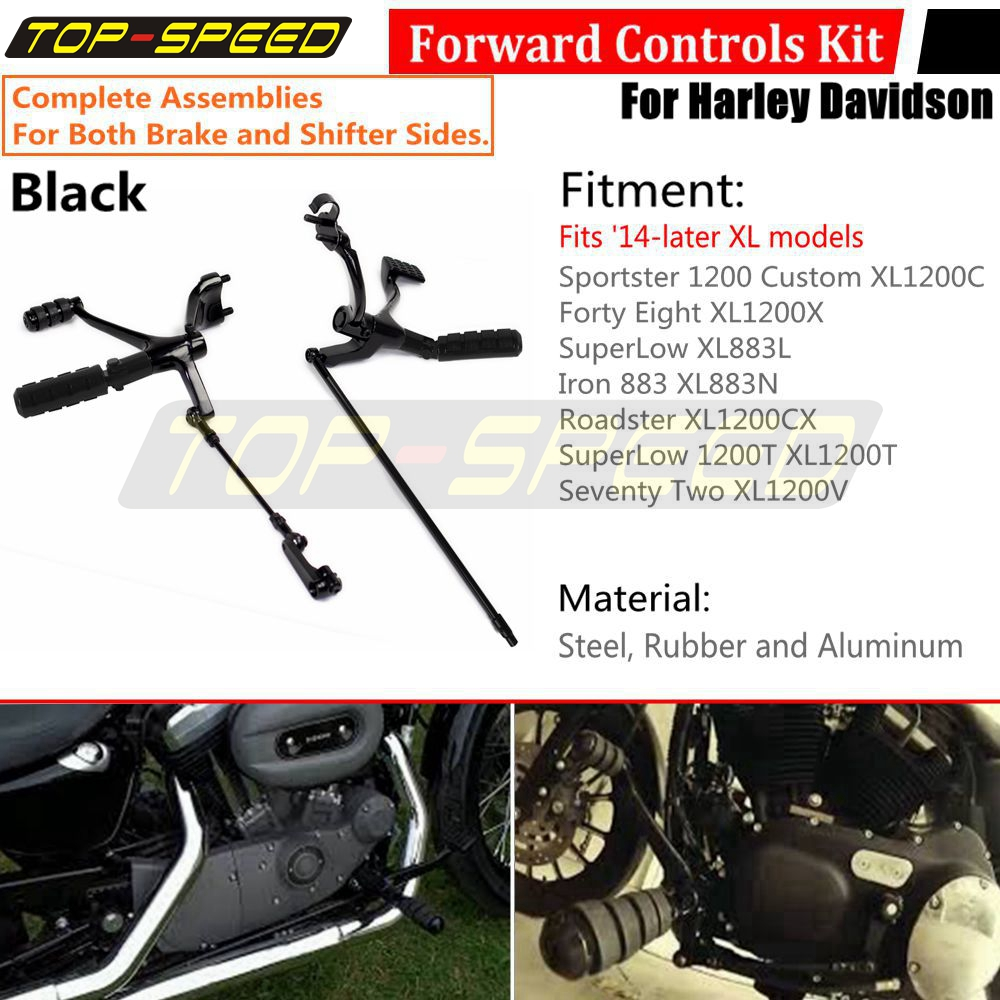 Extended Black Iron Footpegs Forward Control Linkage Kit for Harley-Davidson