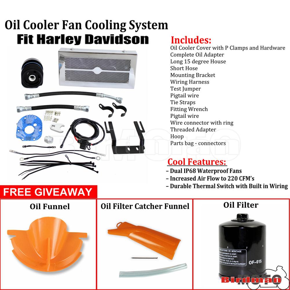 Chrome Reefer Oil Cooler Fan Cooling System For Harley Touring FLHR FLHT 99-08