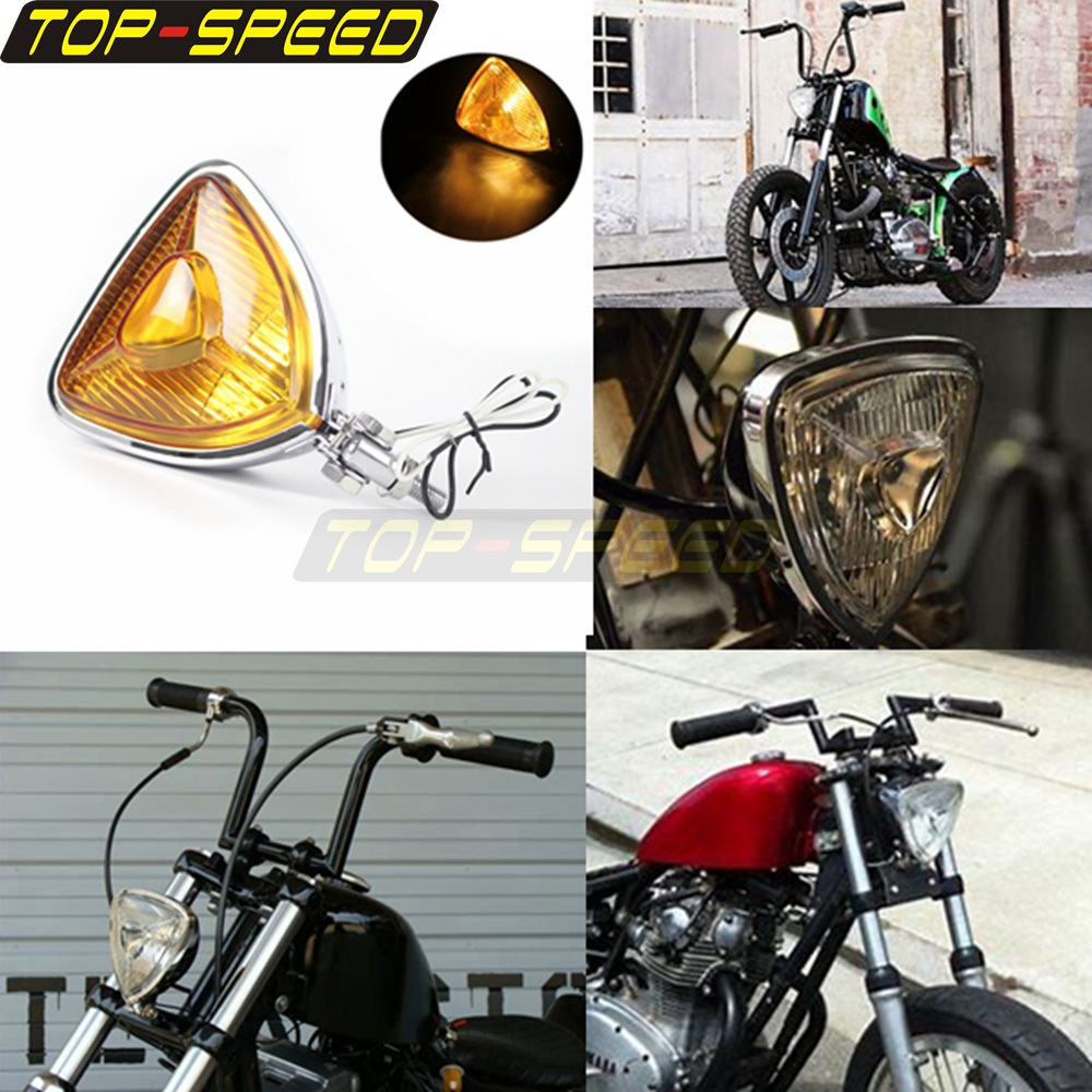 Motorcycle Triangle Headlight Yellow Lens Chrome 12V 55W For Harley-Davidson