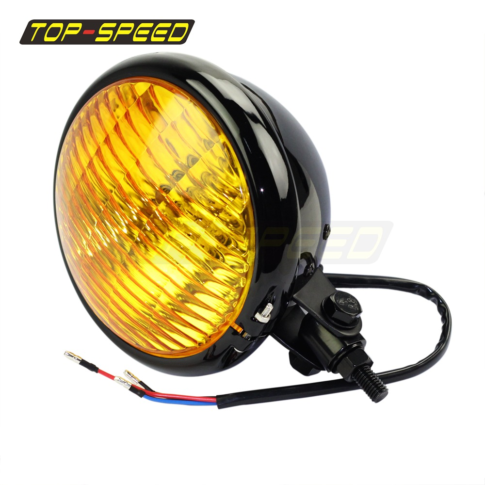 Motorcycle Retro Solid Steel H4 Headlight Lamp For Harley Bobber Cafe Racer Hot