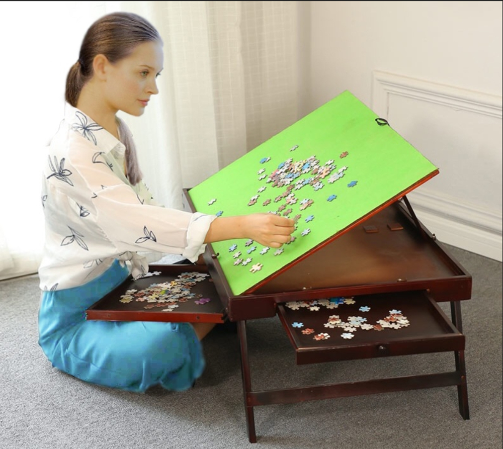 Details About Folding Tilting Wooden Jigsaw Puzzle Storage Table Board2 Drawersus Stock
