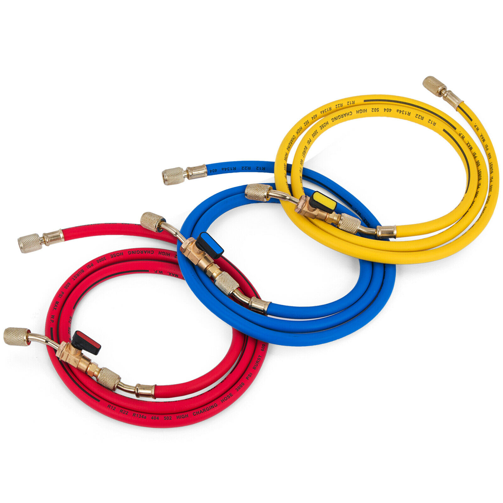 """R134a Charging Hose Set  36/"""" Yellow Blue and Red"""