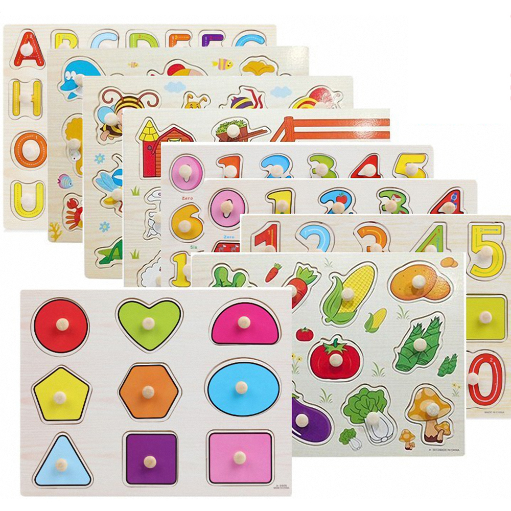 Wooden Puzzle Toy Alphabet Digit Learning Education Jigsaw Baby Hand Grasp W