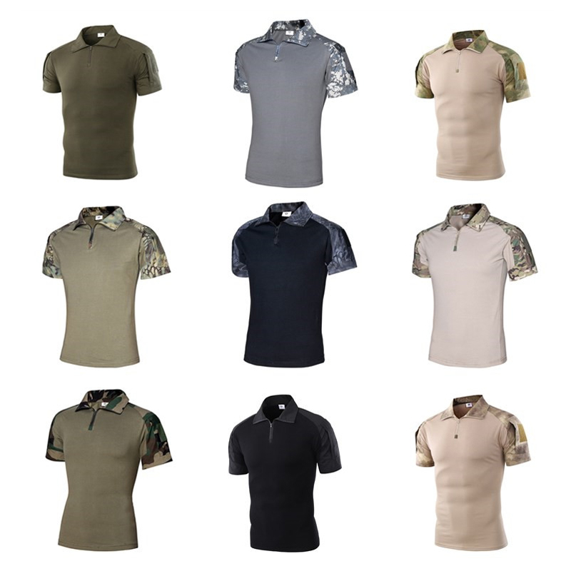 Military Tactical Combat T Shirt Army Quick Dry Hiking Camo Tee Shirt Pullover