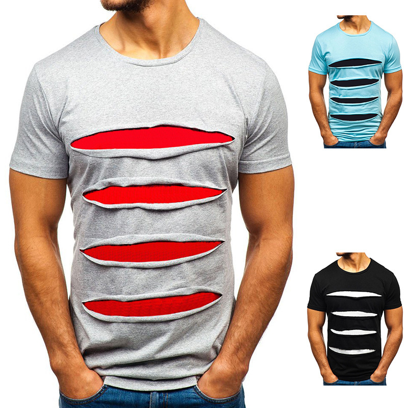 Mens Summer Short Sleeve Tee Shirts Solid Casual Classic Fit Tops Blouse T-shirt