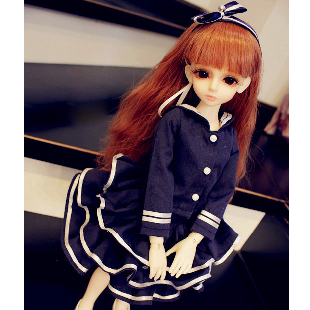 "Khaki Uniform Skirt 5pcs Outfit  For  BJD 1//4 17/"" MSD AOD AS Luts dollfie G/&D"
