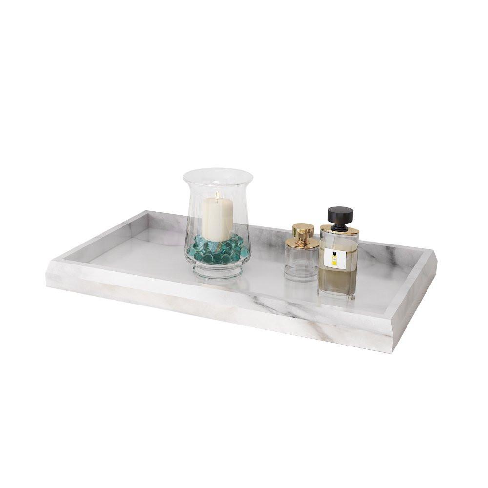 Marble Print Vanity TrayWhite Decorative Cosmetics OrganizerBest