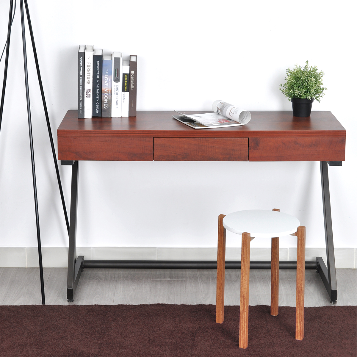 Incroyable Retro Console Table Computer Desk Industrial Iron Z Shape Metal Leg Brown