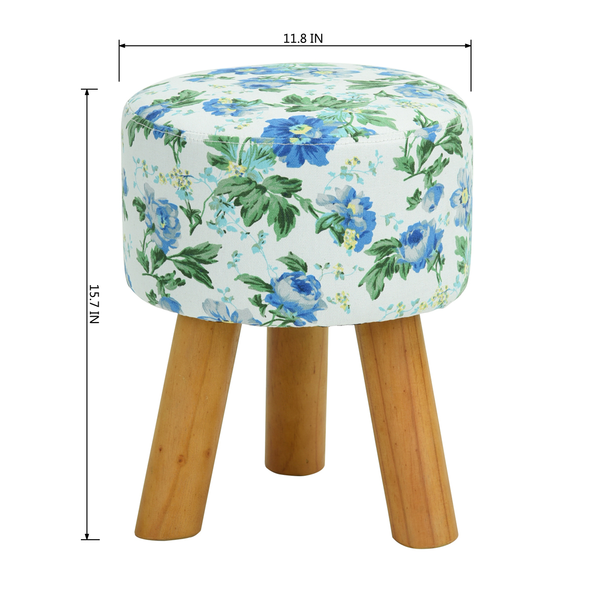 Fl Blue Round Ottoman Small Foot Stool With Wood Legs Rest Seat