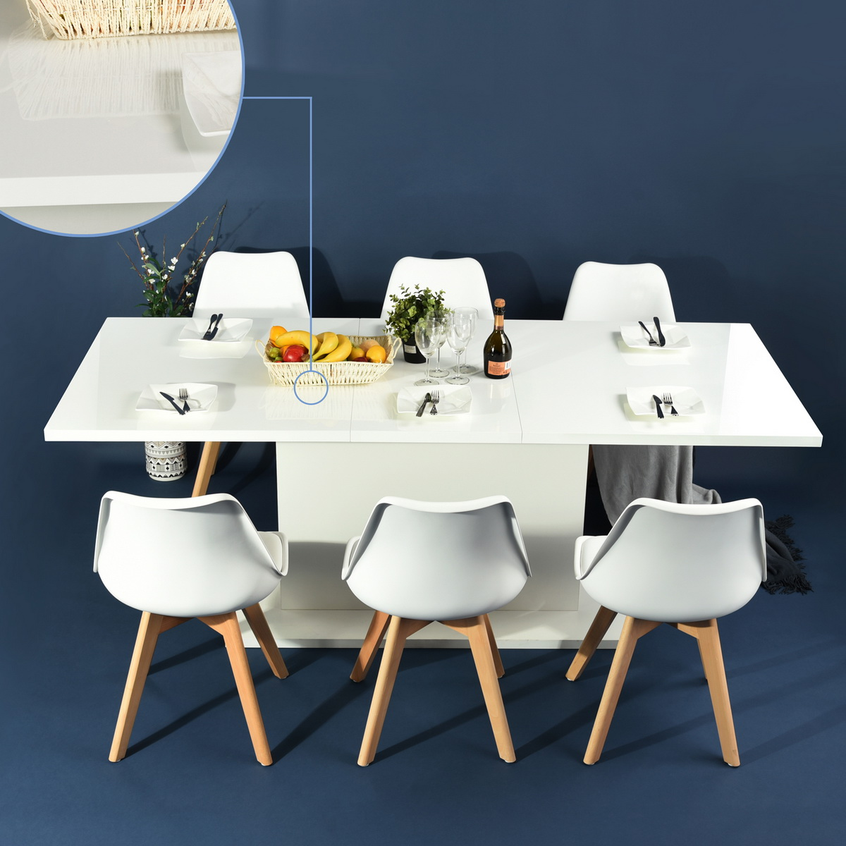 Modern Kitchen Dining Table Extendable Wooden Seaters High Gloss - Extendable beech dining table
