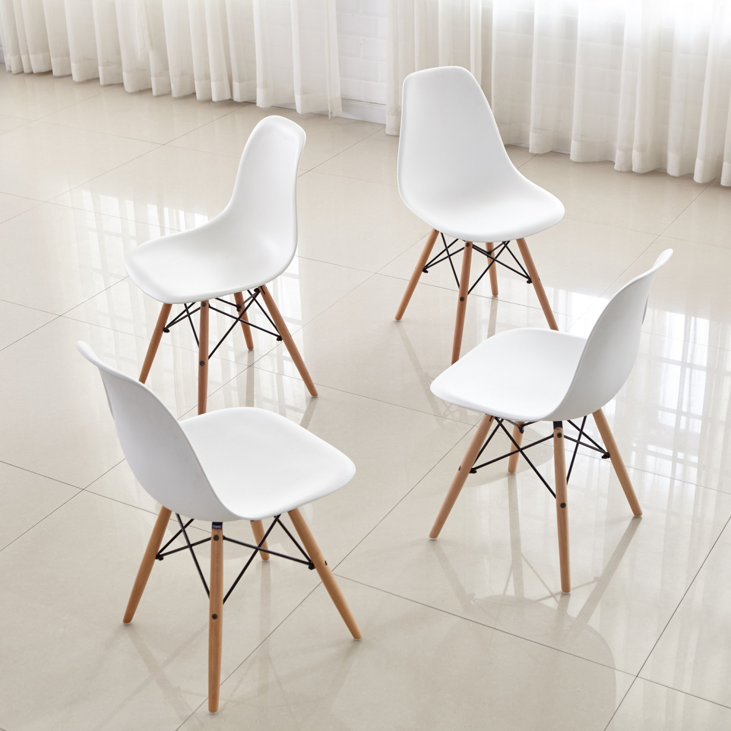 Details about Set Of 4 Modern Kitchen Dining Chair White PP Side Lounge  Chair With Wood Legs