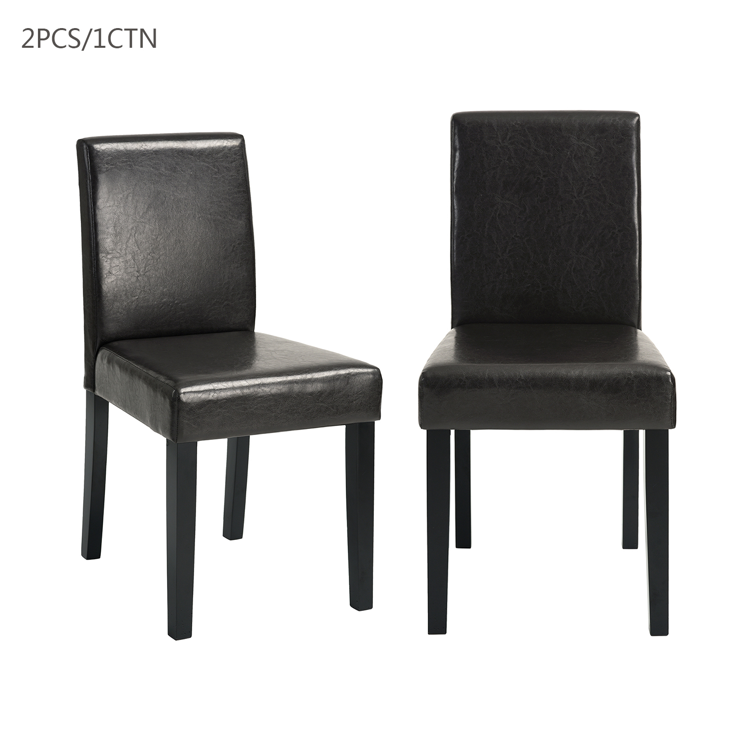 Set Of 2 Faux Leather Armless Dining Chair Accent Side