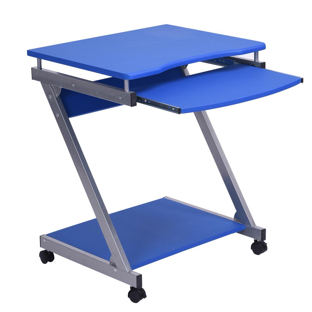 bureau d 39 ordinateur compact l ger avec des roues clavier coulissant plateau ebay. Black Bedroom Furniture Sets. Home Design Ideas
