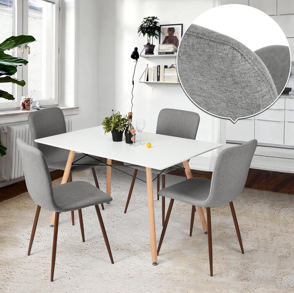 Lot-de-4-Chaises-Vertes-Tendance-Scandinave-Design-Tissu-Metal-aspect-Bois