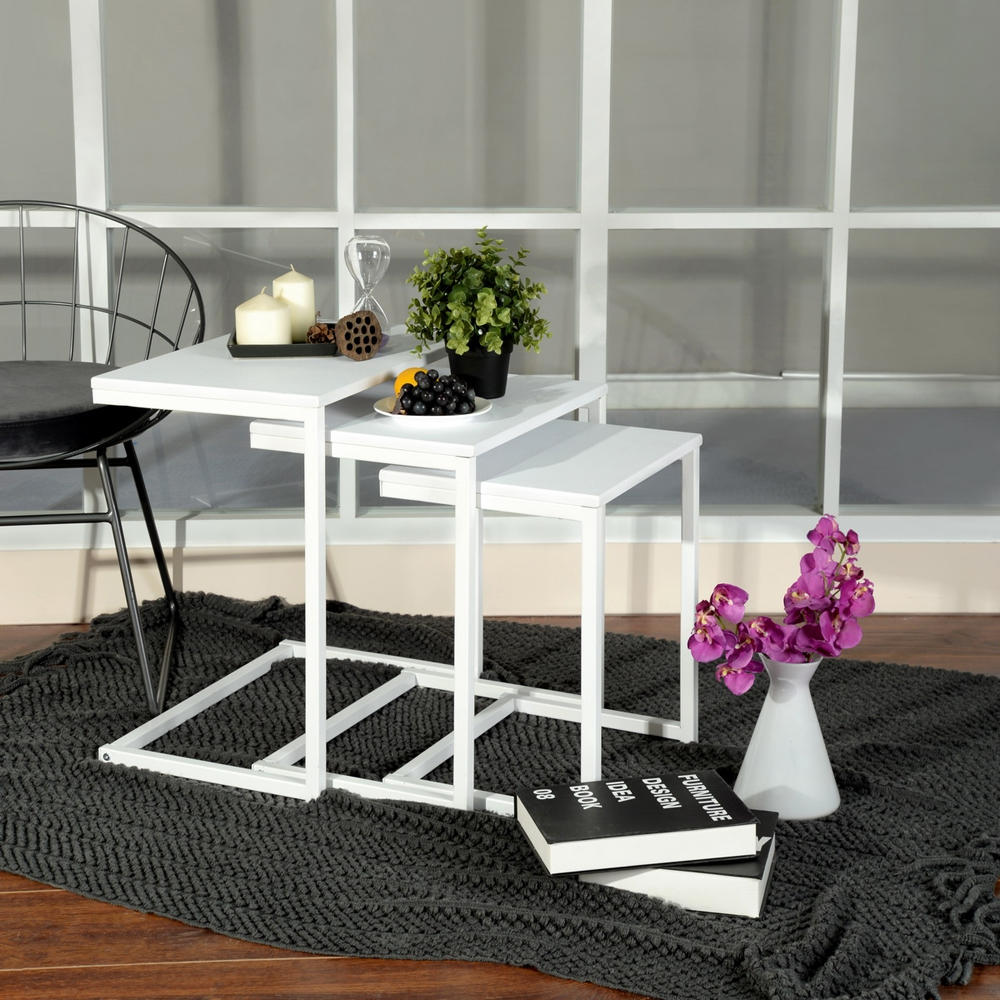 Details About Hot Set Of 3 White Nesting Table Coffee Tea Tables Home Decor Living Room