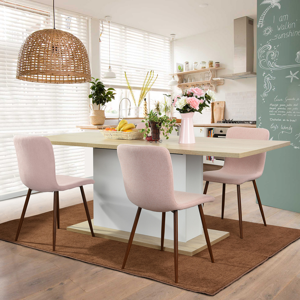 Adjustable Seater Long Extendable Furniture Dining Meeting Wood - Extendable beech dining table