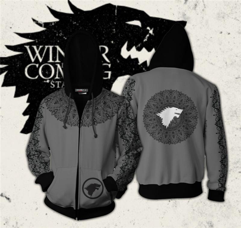 Game of Thrones House Stark Baratheon Cosplay Hoodies Zip Coat Jacket Sweatshirt