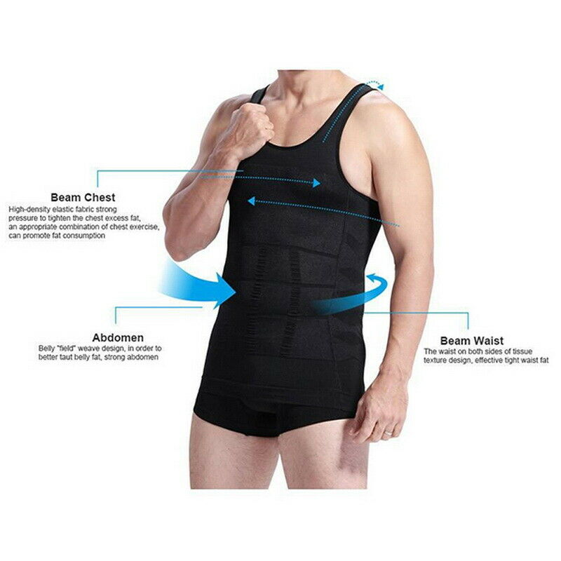 Men/'s Ultra Lift Body Slimming Seamless Body Shaper Vest Abdomen T-Shirt Cami