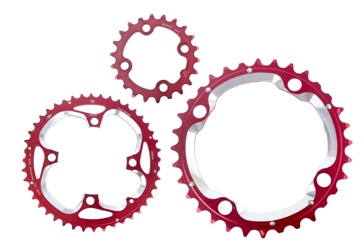 Aerozine Mountain Cycling Bike Chainring Set for Shimano 9s 10s 44//32//22t Red