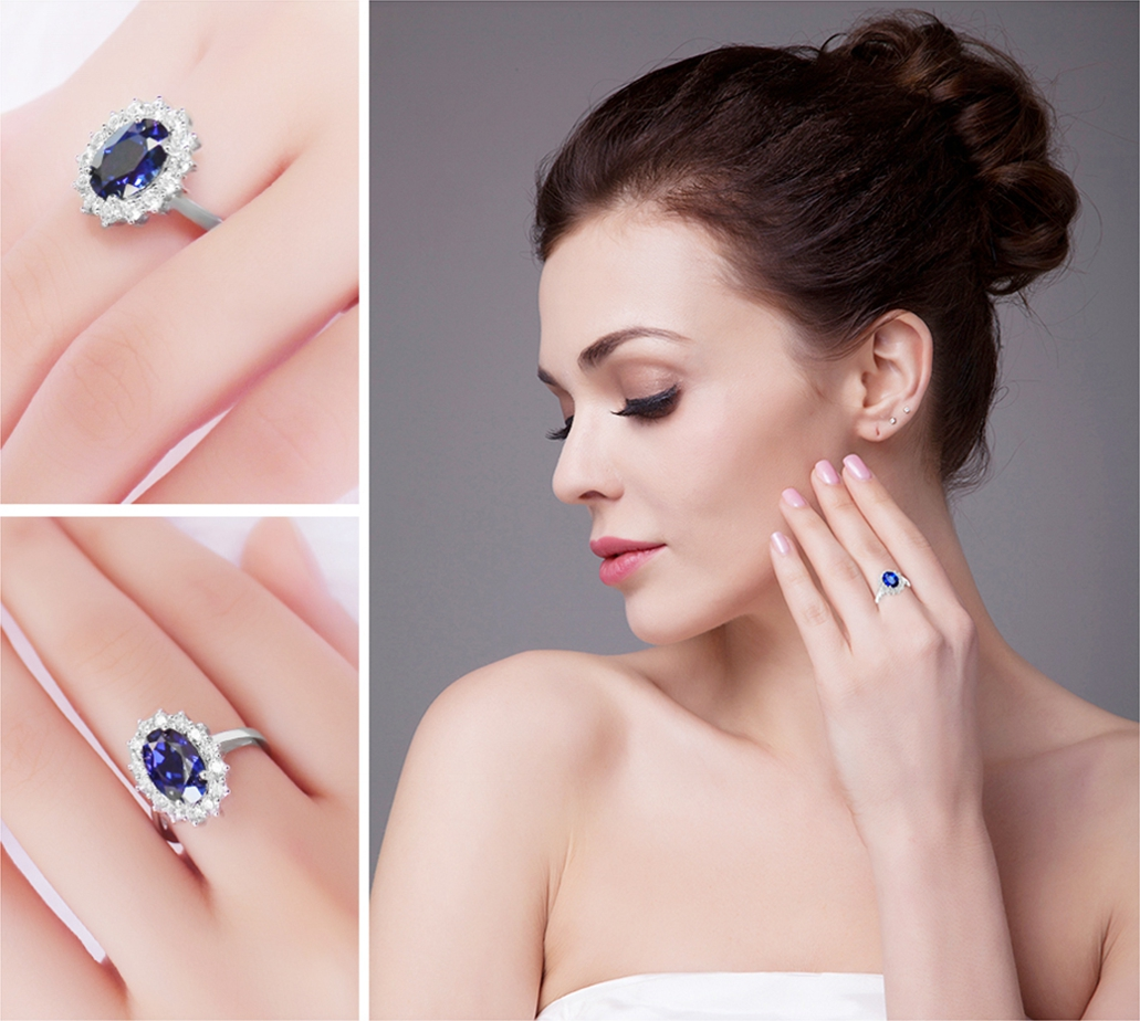 Women Love Kate Princess Diana William Blue Shire Enement Princes Ring