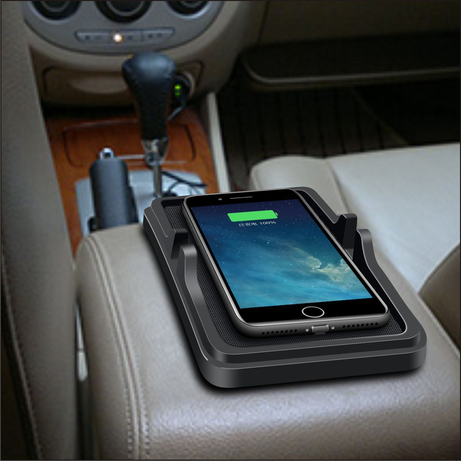Qi Wireless Charger Car Phone Holder Mount Non-Slip Pad