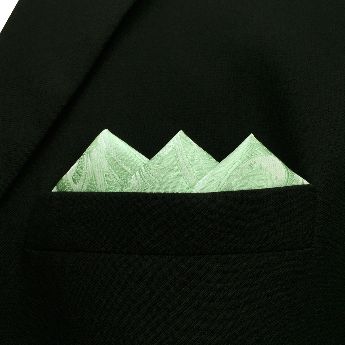 SHLAX/&WING Solid Color Mens Pocket Square Silk Paisley Light Green Honeydew