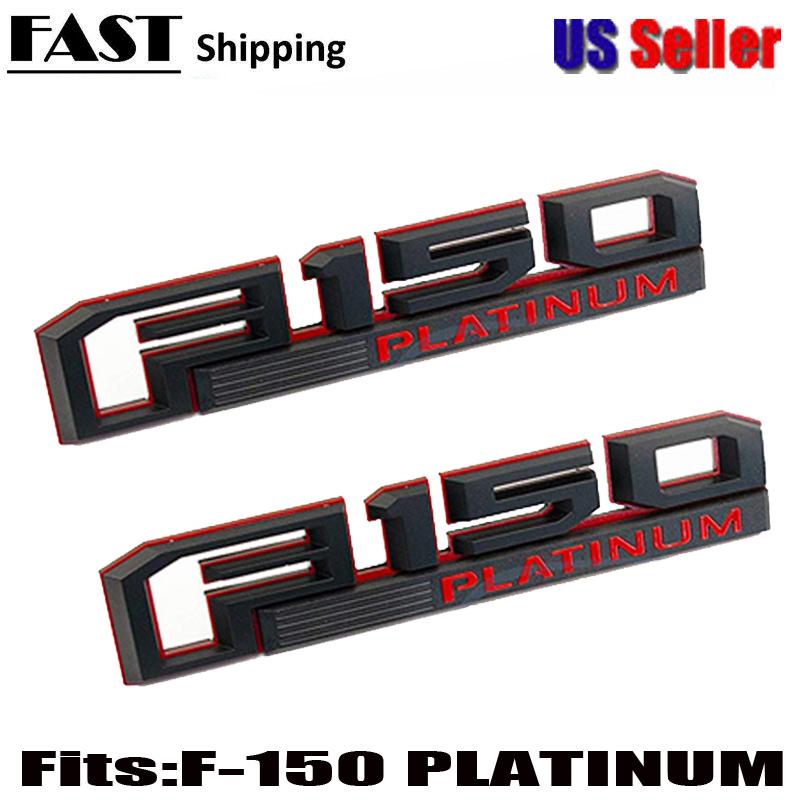 2 NEW CUSTOM BLACK /& RED for 2015-2017 FORD F150 XL FENDER EMBLEMS PAIR SET