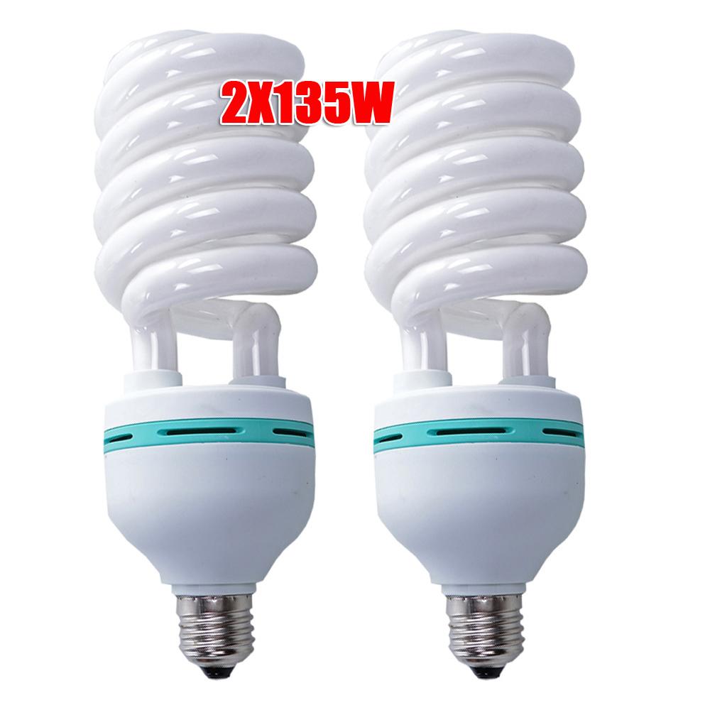 Fluorescent Light Fixtures Energy Efficiency: 2x135W 5500K Daylight Spiral Light Bulbs Energy Saving