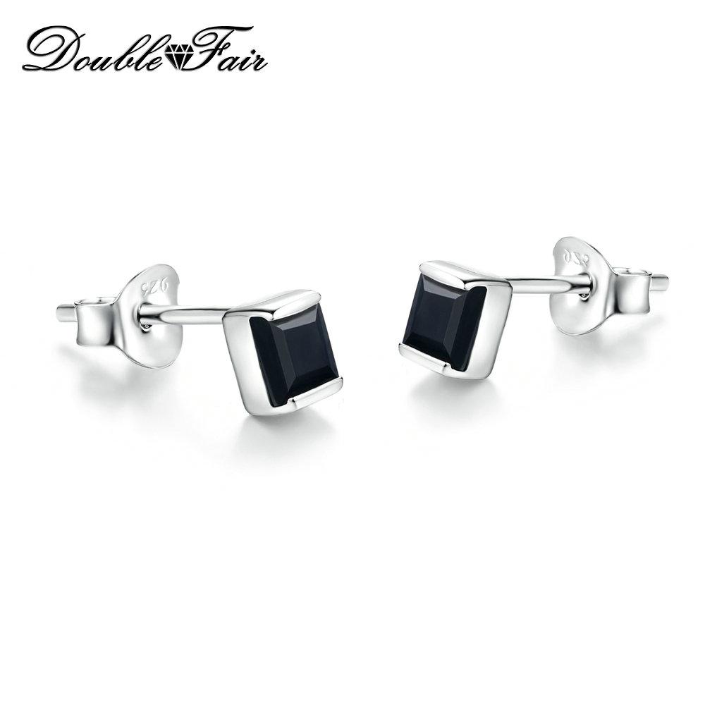 925 Sterling Silver Black Square Stud Earrings