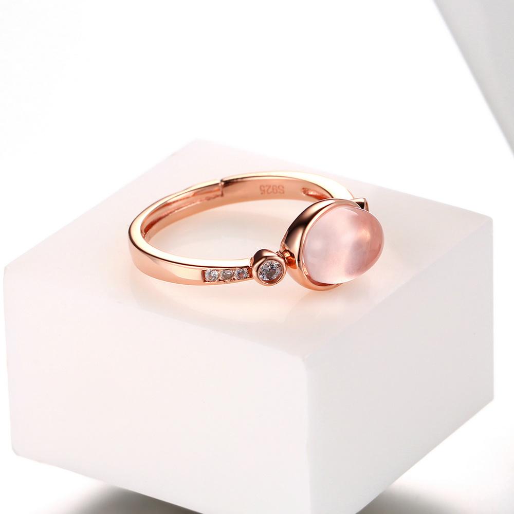 Oval Natural Gemstone Rose Quartz Ring Rose Gold Plated ...