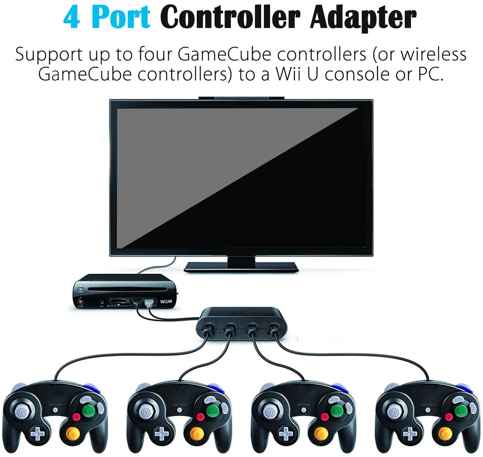 Details about Gamecube Controller Adapter Converter For WII U Console Super  Smash Bros
