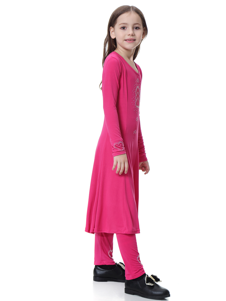 Muslim Kids Girls 2 PCS Eid Dress+Pants Child Prayer Abaya Islamic Maxi Robe Set